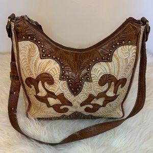 American West Leather Tooled Shoulder Bag
